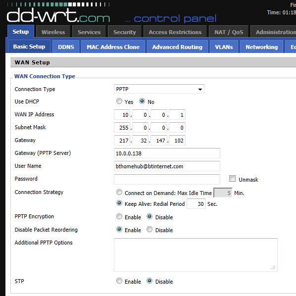 DD-WRT PPTP Settings