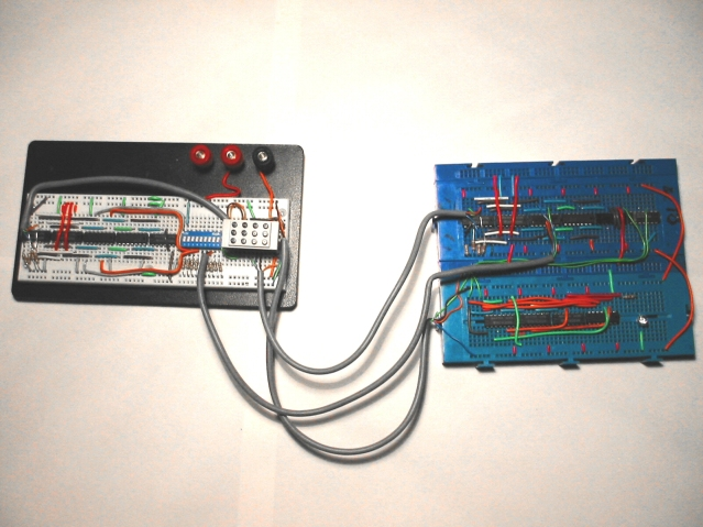 Circuit on three breadboards