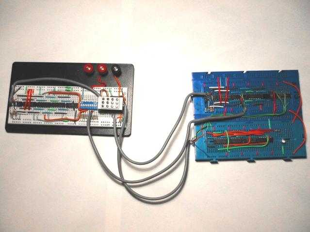 Circuit on three breadboards